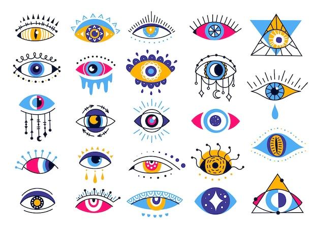Mistico malocchio esoterico provvidenza etnica protezione talismano simbolo magico occulto amuleto vettore set
