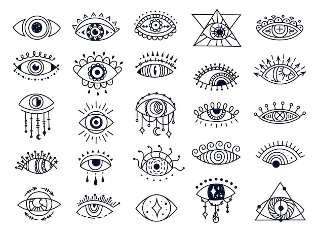 Gli occhi malvagi mistici scarabocchiano il set di vettore di souvenir esoterico disegnato a mano simbolo turco spirituale