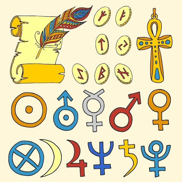 Insieme disegnato a mano di schizzo di simboli esoterici magici mistici