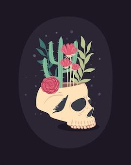 Teschio mistico con piante