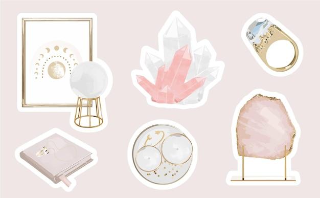 Set di adesivi mistici con elementi magici femminili e cristalli