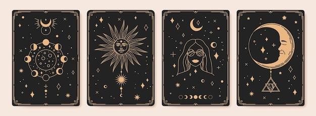 Carte dei tarocchi astrologia mistica bohemien occulto vintage esoterico fasi lunari sole sacro stelle vettore