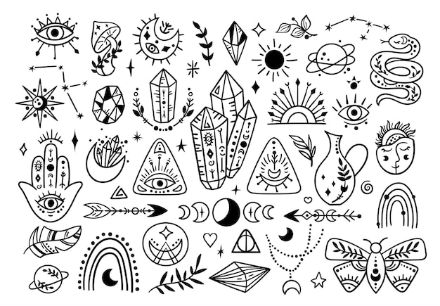 Set di simboli mistici boho, linea bianca e nera