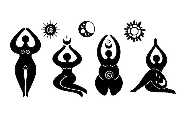 Mistico celeste dea isolato cliparts wiccan donna silhouette femminile simbolo vector Vettore Premium