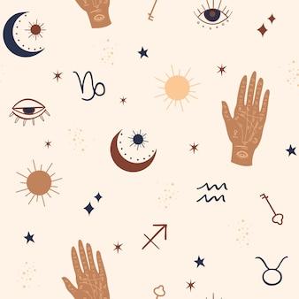 Modello senza cuciture mistico e celeste con occhi, stelle, elementi di palma e zodiaco.