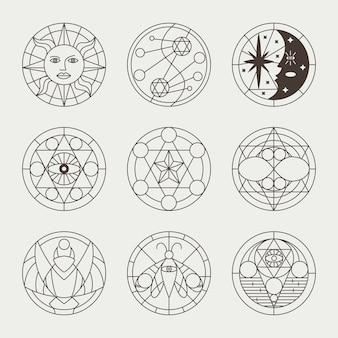 Tatuaggi mistici occulti, cerchi di stregoneria, segni sacri, elementi e simboli. le icone magiche geometriche di vettore hanno impostato isolato