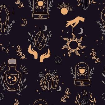 Sfondo senza soluzione di continuità mistica. disegnato a mano. sfondo con simboli esoterici. sagoma di mani, pianeti, stelle, fasi lunari e illustrazione di cristalli. simboli esoterici e stregoneria