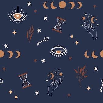 Modello senza cuciture mistico con fasi lunari, occhi, stelle ed elementi botanici.