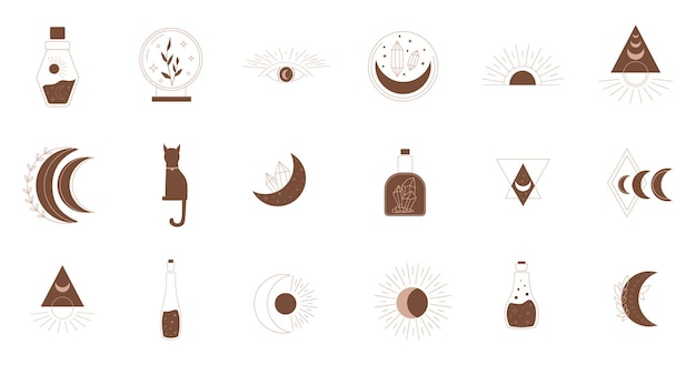 Simboli mistici. linea esoterica, elementi disegnati a mano mistici boho