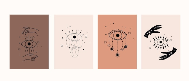 Simboli mistici con mani, occhi, sole e luna. collezione di poster magici