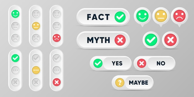 Pulsanti di mito e di fatto. fatti veri o falsi impostano la raccolta in stile 3d con simboli croce e segno di spunta.