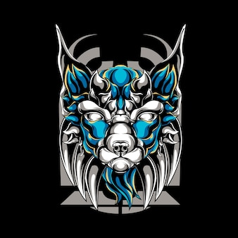 Mitico cane mascotte logo illustrazione