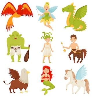 Set di creature mitiche fiabe, centauro, pegaso, grifone, gorgone di medusa, sirena, drago, illustrazione fenomenale di uccello fiammeggiante