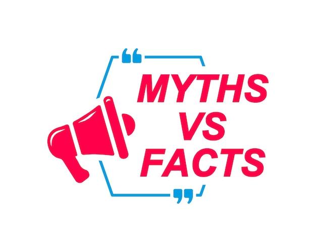 Etichette miti vs fatti fumetti con icona megafono banner per sito web di social media faq