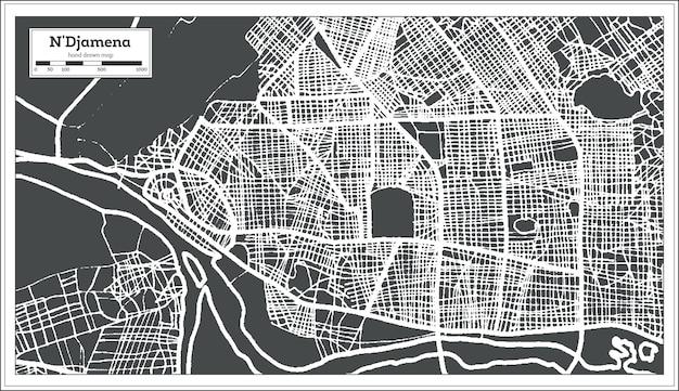 Mappa della città di n'djamena ciad in stile retrò. mappa di contorno. illustrazione di vettore.