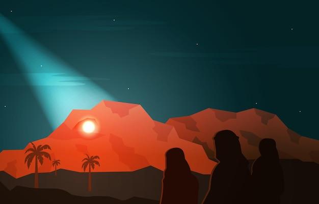 Nabi profeta muhammad messenger hira cave islam storia islamica illustrazione