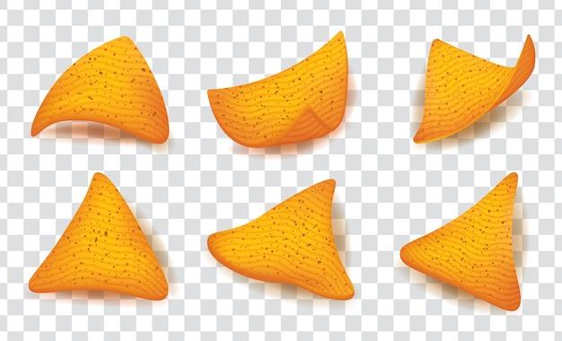 Chips di mais nachos impostato su sfondo trasparente.