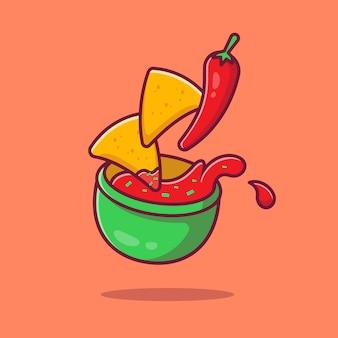 Nachos con salsa di chili icona del fumetto illustrazione. messico cibo icona concetto isolato. stile cartone animato piatto