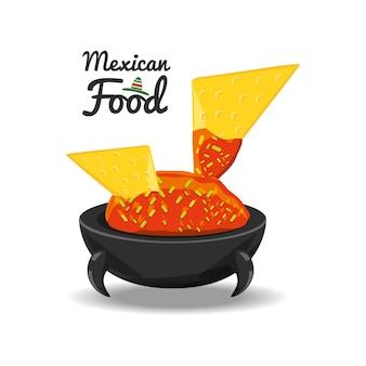 Nachos con salsa tradizionale cucina messicana