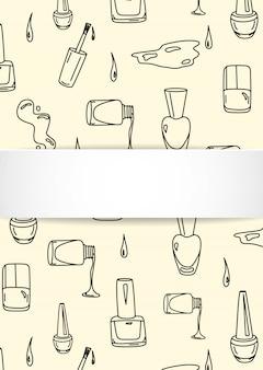 Sfondo di unghie con manicure doodle. smalto disegnato a mano e