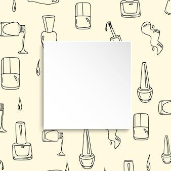 Banner per unghie con motivo manicure doodle. polacco disegnato a mano e