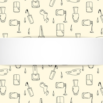 Banner per unghie con motivo manicure doodle.