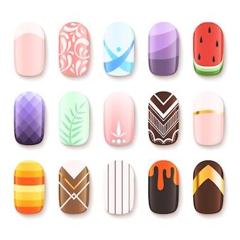 Set di disegni per unghie. modello colorato del fumetto delle immagini di vettore di progettazione di arte del dito