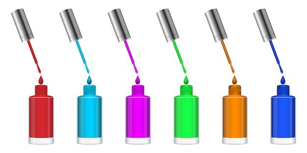 Illustrazione di progettazione della bottiglia dello smalto isolata su fondo bianco