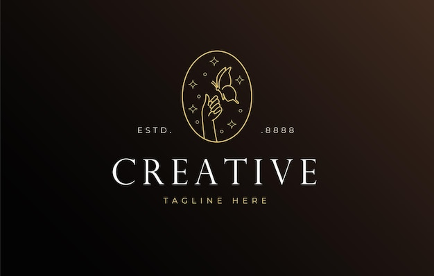 Farfalla di smalto appollaiata sul modello di icona del design del logo a mano
