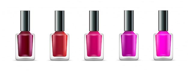 Colori della bottiglia di vetro isolati smalto. realistici contenitori per vernice per manicure di bellezza. prodotto cosmetico per smalto per unghie femminile