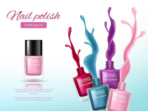 Smalto per unghie, con spruzzi colorati di smalto per unghie, bottiglie di vernici in vetro per il trucco della donna manicure. Vettore Premium