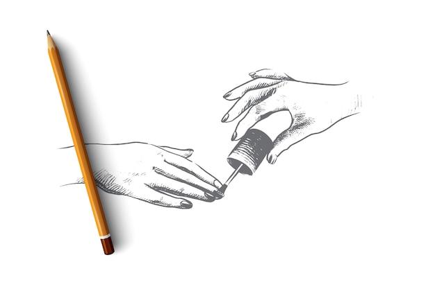 Illustrazione di concetto di studio del chiodo