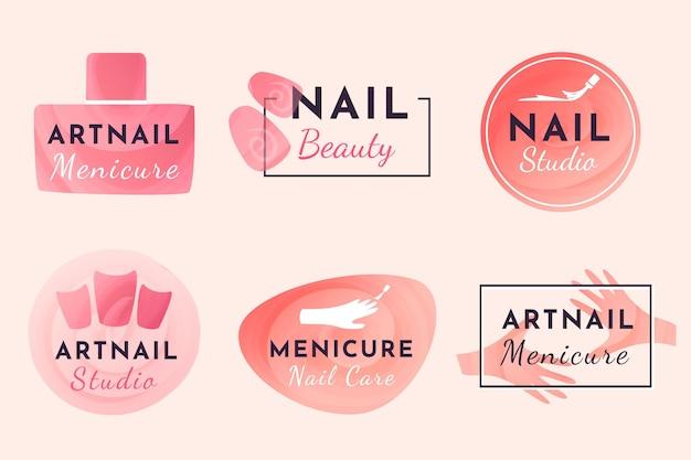 Design della collezione di logo di nail art studio