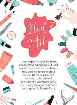 Carta unghie, flyer, certificato, banner. cornice di strumenti per manicure. concetto per nail studio, salone. illustrazione vettoriale.
