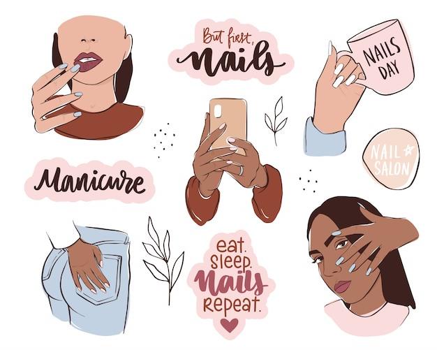 Set unghie e manicure. mani femminili con diversi colori della pelle, tenere smalto o telefono. Vettore Premium