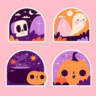 Collezione di adesivi di halloween ingenui