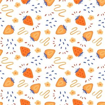 Modello senza cuciture di fragola arancione ingenuo linee e scarabocchi disegnati a mano texture pastello in stile piatto