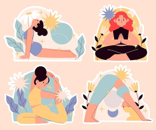 Collezione di adesivi yoga ingenui
