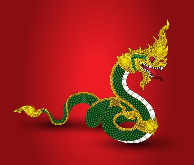 Grande serpente d'oro vintage naka thai