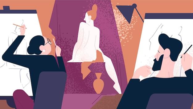 Modello nudo in posa per artisti maschi e femmine mentre sono seduti a cavalletti e la disegnano. scuola d'arte, studio o classe, lavoro artistico. illustrazione vettoriale colorato in stile cartone animato piatto moderno.