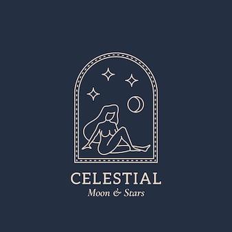 Donna nuda nell'arca della finestra con la luna e le stelle nello spazio astratto surreale vettoriale trendy contemporaneo...