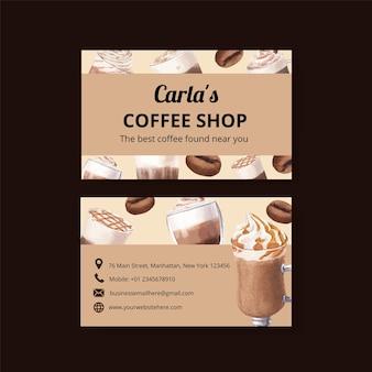 Modello di carta di nome con caffè in stile acquerello
