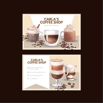 Modello di carta di nome con caffè