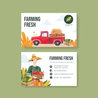 Modello di biglietto da visita con il concetto di giornata nazionale degli agricoltori, stile acquerello