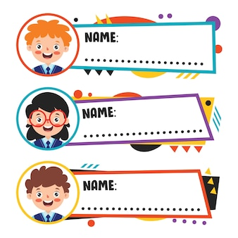 Etichette nome per bambini in età scolare