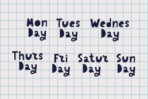 Nomi dei giorni della settimana, caratteri tipografici grunge vintage, caratteri irregolari in stile timbro per i tuoi disegni di calendario