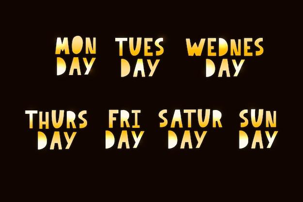 Nomi dei giorni della settimana, caratteri tipografici grunge vintage, caratteri irregolari in stile francobollo per i tuoi disegni di calendario