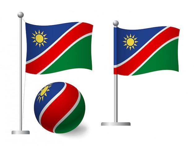 Bandiera della namibia sull'icona palo e palla