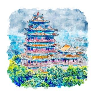 Illustrazione disegnata a mano di schizzo dell'acquerello di nanchino cina