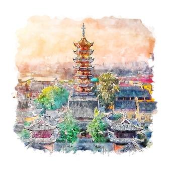 Illustrazione disegnata a mano di schizzo dell'acquerello di nanchino jiangsu cina